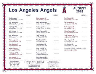 August 2018 Los Angeles Angels Printable Schedule