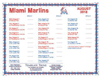 August 2018 Miami Marlins Printable Schedule