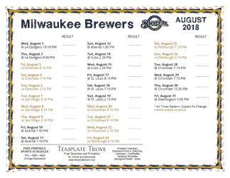 August 2018 Milwaukee Brewers Printable Schedule