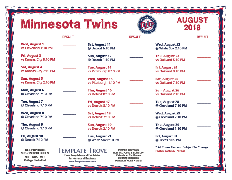 printable 2018 minnesota twins schedule
