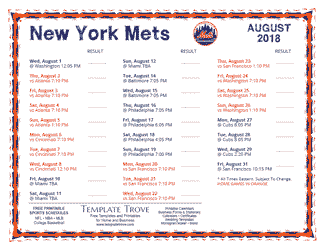 August 2018 New York Mets Printable Schedule