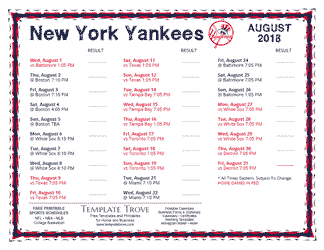 August 2018 New York Yankees Printable Schedule