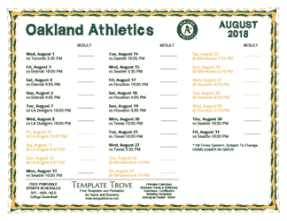 August 2018 Oakland Athletics Printable Schedule