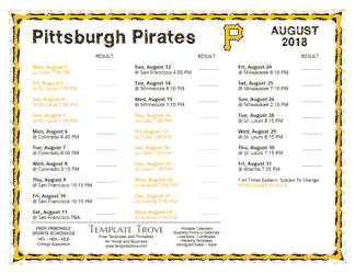 August 2018 Pittsburgh Pirates Printable Schedule