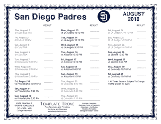 August 2018 Padres Schedule