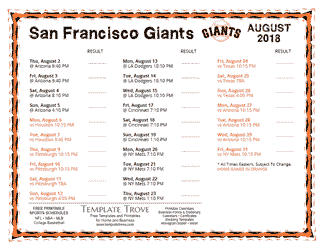 August 2018 San Francisco Giants Printable Schedule