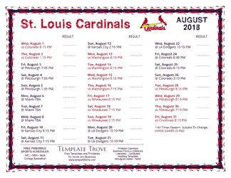 August 2018 St. Louis Cardinals Printable Schedule