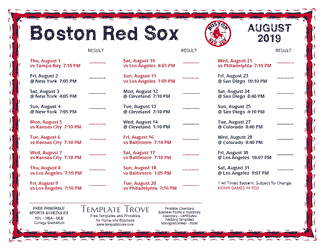 August 2019 Boston Red Sox Printable Schedule