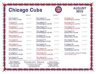 August 2019 Chicago Cubs Printable Schedule