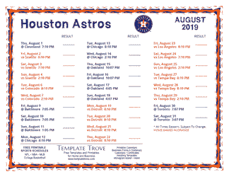 August 2019 Houston Astros Printable Schedule