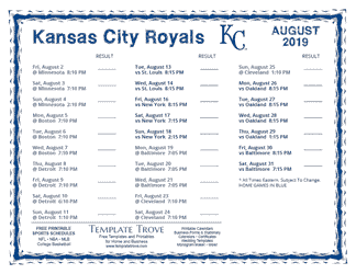 August 2019 Kansas City Royals Printable Schedule