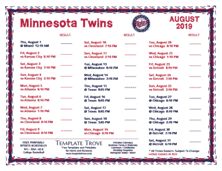 August 2019 Minnesota Twins Printable Schedule