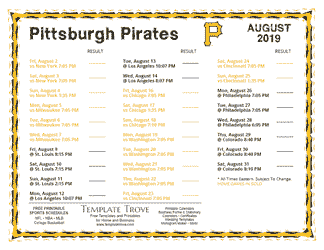 August 2019 Pittsburgh Pirates Printable Schedule