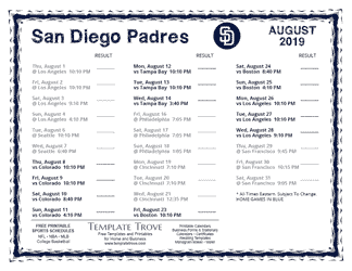 August 2019 Padres Schedule