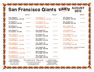 August 2019 San Francisco Giants Printable Schedule