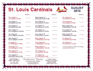 August 2019 St. Louis Cardinals Printable Schedule