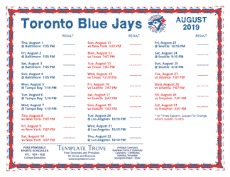 August 2019 Toronto Blue Jays Printable Schedule