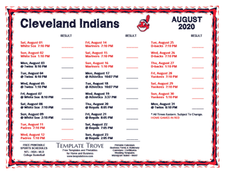 August 2020 Cleveland Indians Printable Schedule