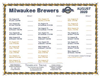 August 2020 Milwaukee Brewers Printable Schedule