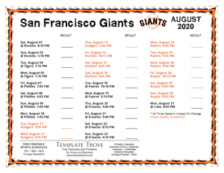 August 2020 San Francisco Giants Printable Schedule