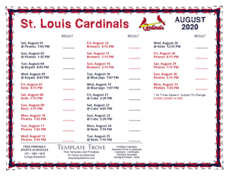 August 2020 St. Louis Cardinals Printable Schedule