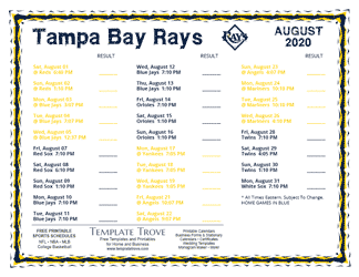 August 2020 Tampa Bay Rays Printable Schedule