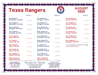 August 2020 Texas Rangers Printable Schedule