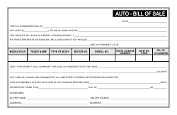 Auto Bill of Sale Template