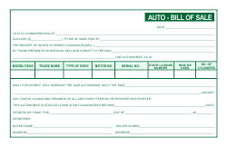 Auto Bill of Sale Template - Green