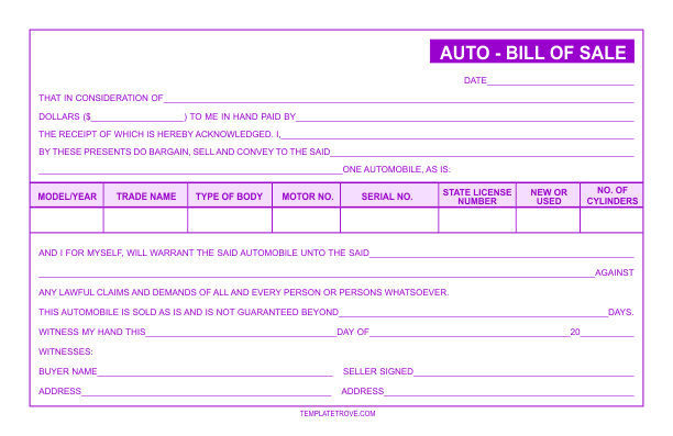 auto as is bill of sale form