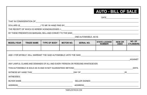 Auto Bill of Sale Template – Template for a Bill of Sale