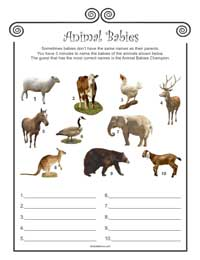 Animal Babies Baby Shower Game