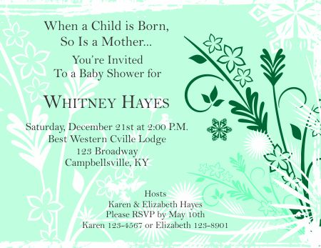 Beautiful Baby Shower Invitation 1   Green  Baby Shower Invitation Template Word