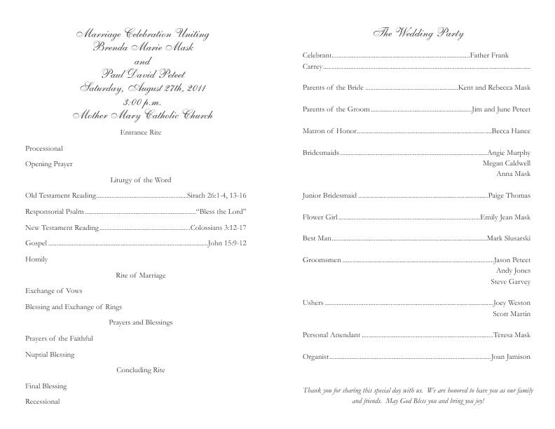 Catholic Wedding Program.Catholic Wedding Program Template 2