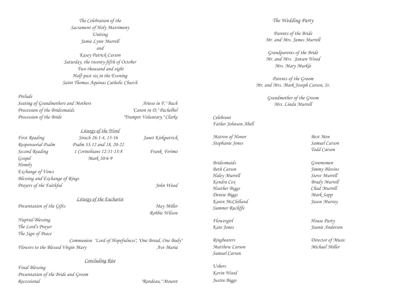 Catholic Wedding Program.Catholic Wedding Program Template 3