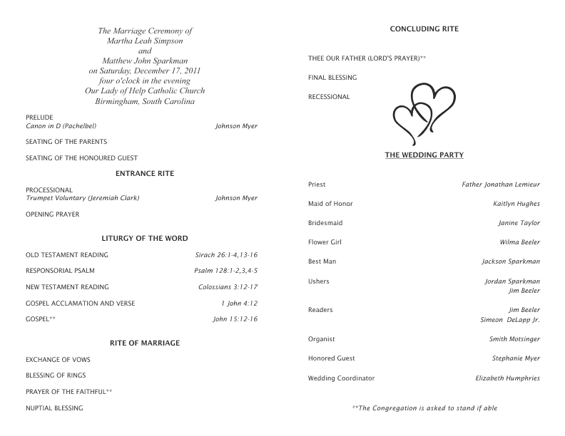 wedding blessing order of service template - catholic wedding program template 5