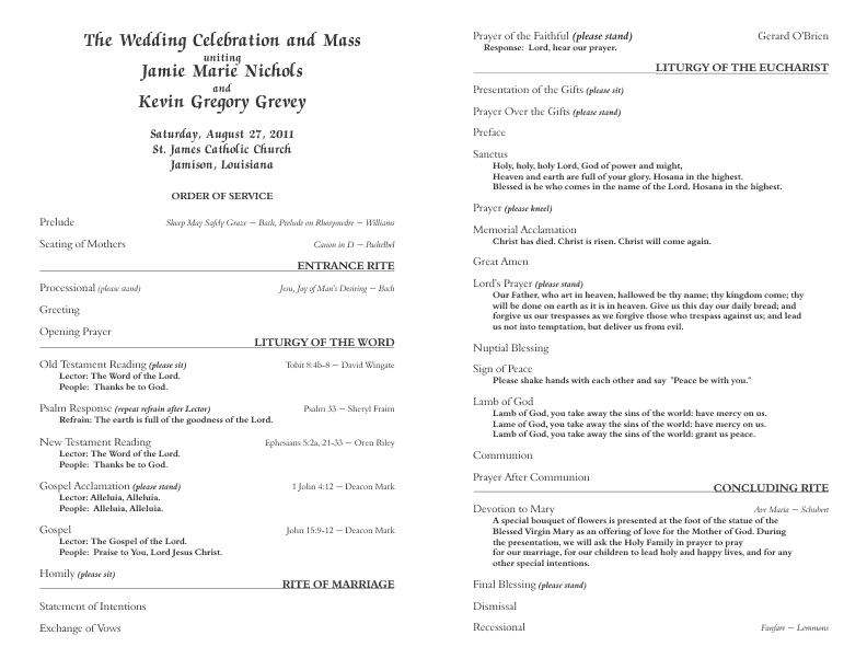 Catholic wedding program template 6 pronofoot35fo Images