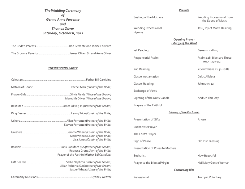 Sample catholic wedding program without mass