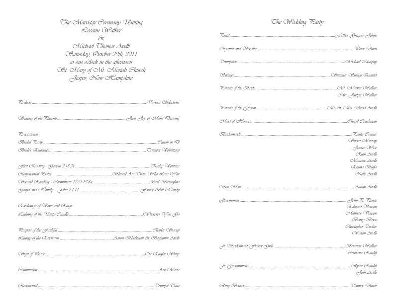 Templates For Programs Kleobeachfixco - 5x7 wedding program template