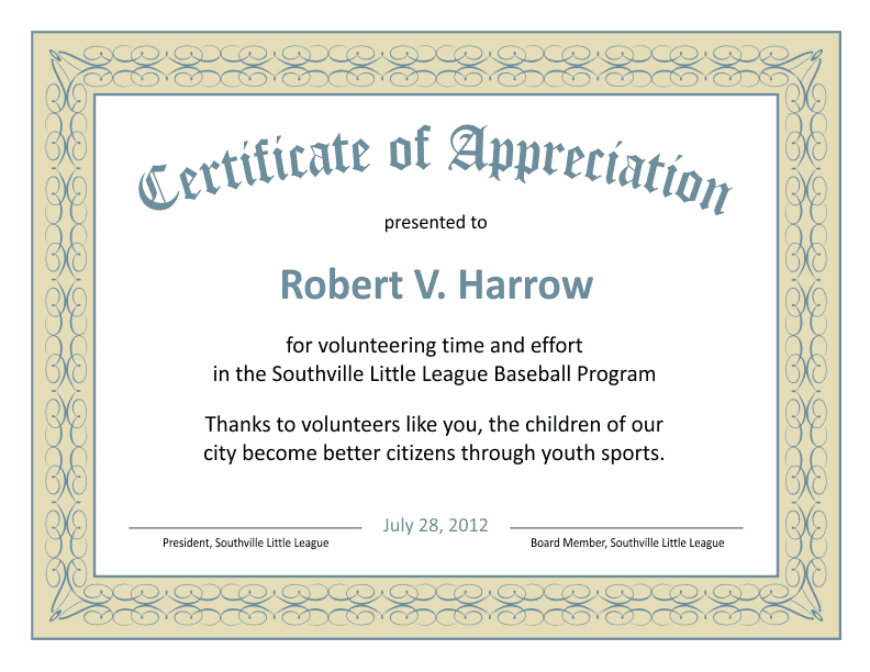 Certificate templates certificate of appreciation template yelopaper Image collections