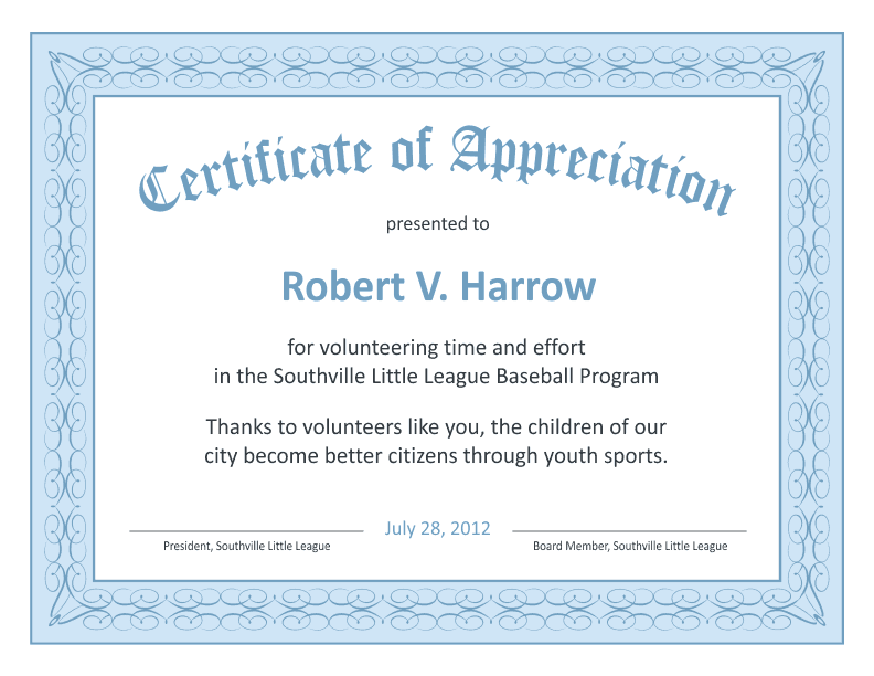 Superb Certificate Of Appreciation Template   Blue