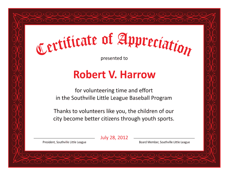 certificate of appreciation template red