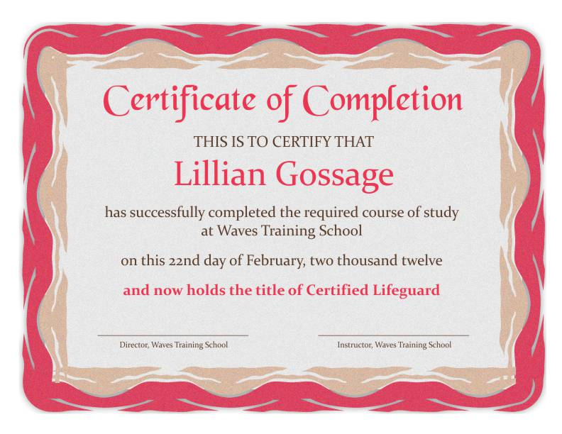 Certificate Of Completion Template 1E  Certificates Of Completion Templates