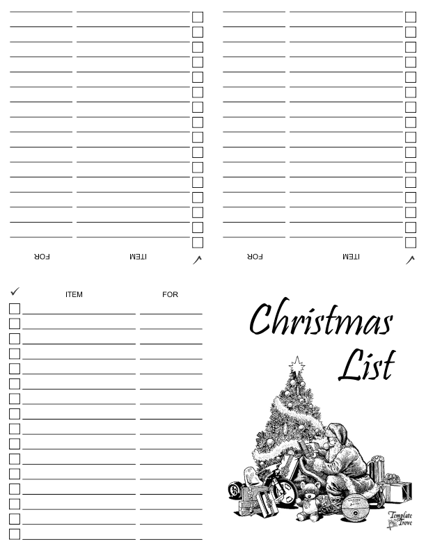 photograph relating to Printable Christmas Shopping List named Printable Xmas Buying Checklist