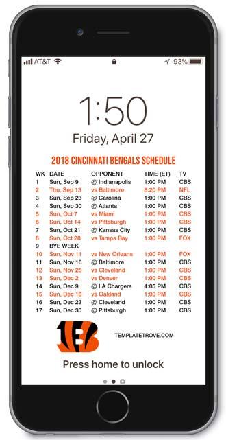 2018-2019 Cincinnati Bengals Lock Screen Schedule for iPhone 6-7-8 Plus b5d7033fe