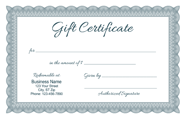 Formal gift certificate templates for Gift certificate example templates