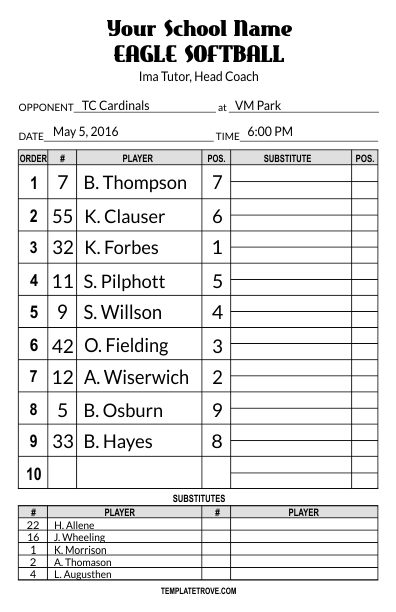Lineup card templates for Free baseball lineup card template