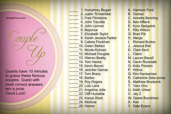 Bridal Shower Games - Bridal shower game templates