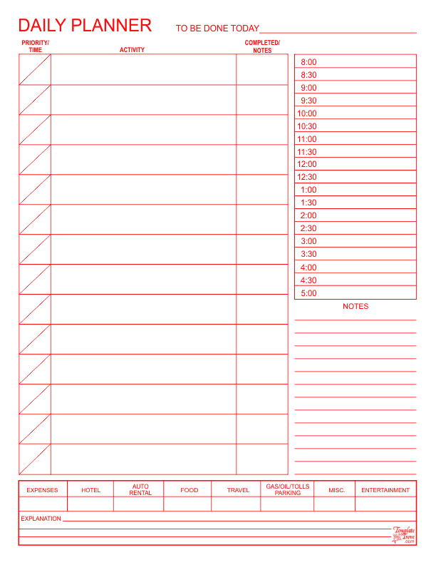 Daily planner for For planner