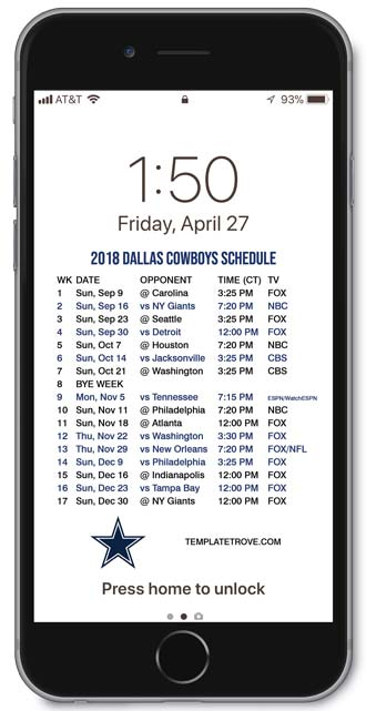 image regarding Dallas Cowboy Schedule Printable referred to as 2018-2019 Dallas Cowboys Lock Display screen Program for apple iphone 6-7